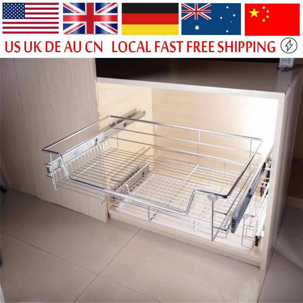 Uncategorized Sliding Storage Baskets under shelf storage basket kitchen pantry pull out sliding metal drawer cabinet organiser kitchen