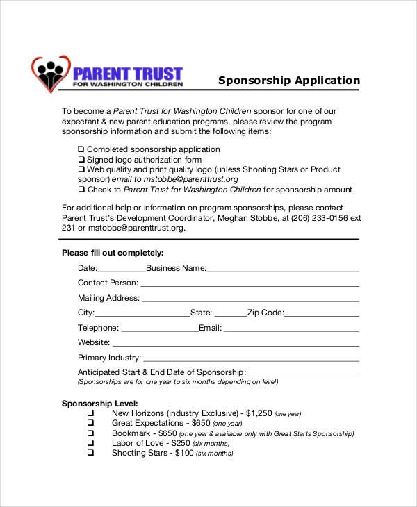 Sponsorship Application Templates Free Sample Example Format Pics