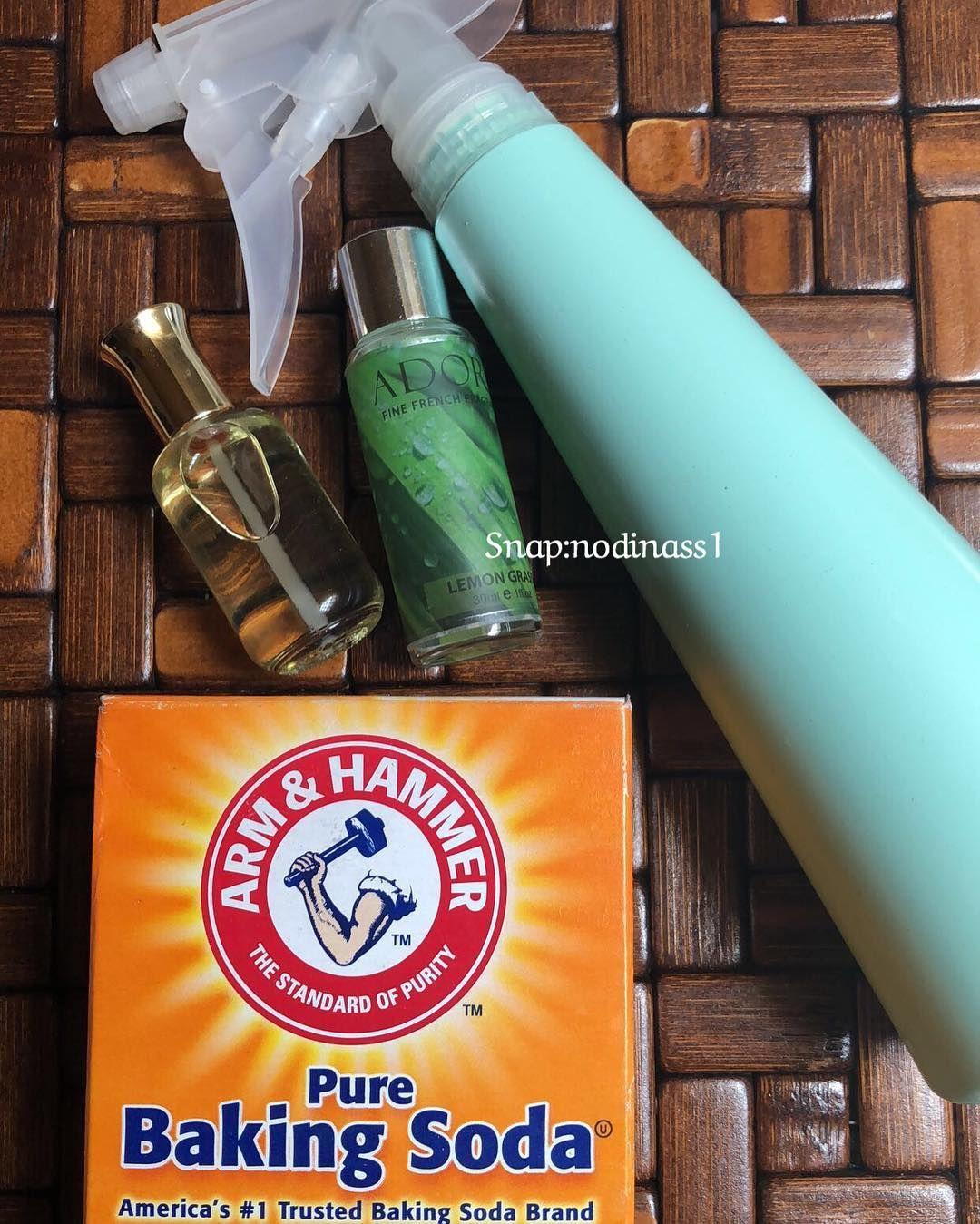نونيتا On Instagram بخاخ منزلي معطر بيكنج صودا بيكربونات الصوديوم واضيف زيت العطري اللي تحب Soda Brands Cleaning Hacks Pure Products