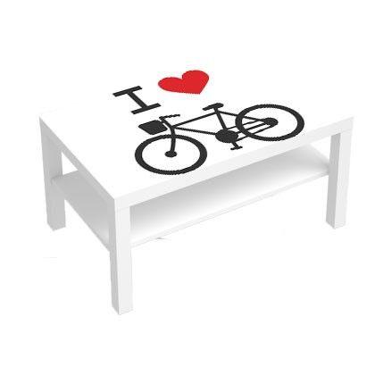 Stickers Pour Table Basse Lack 90x55 I Love Bike Deco Sticker