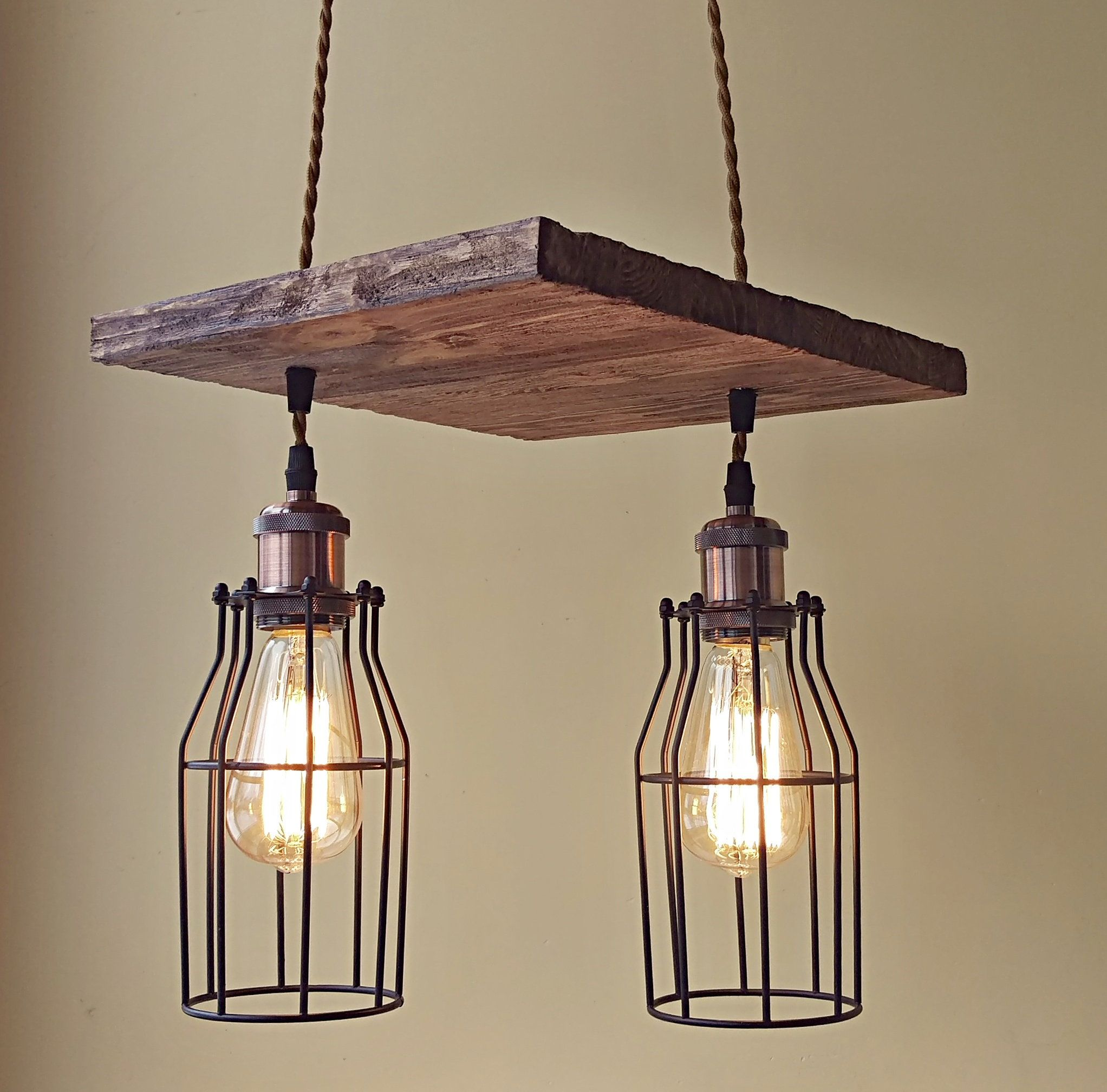 Unique pendant light wood chandelier rustic handmade pendant