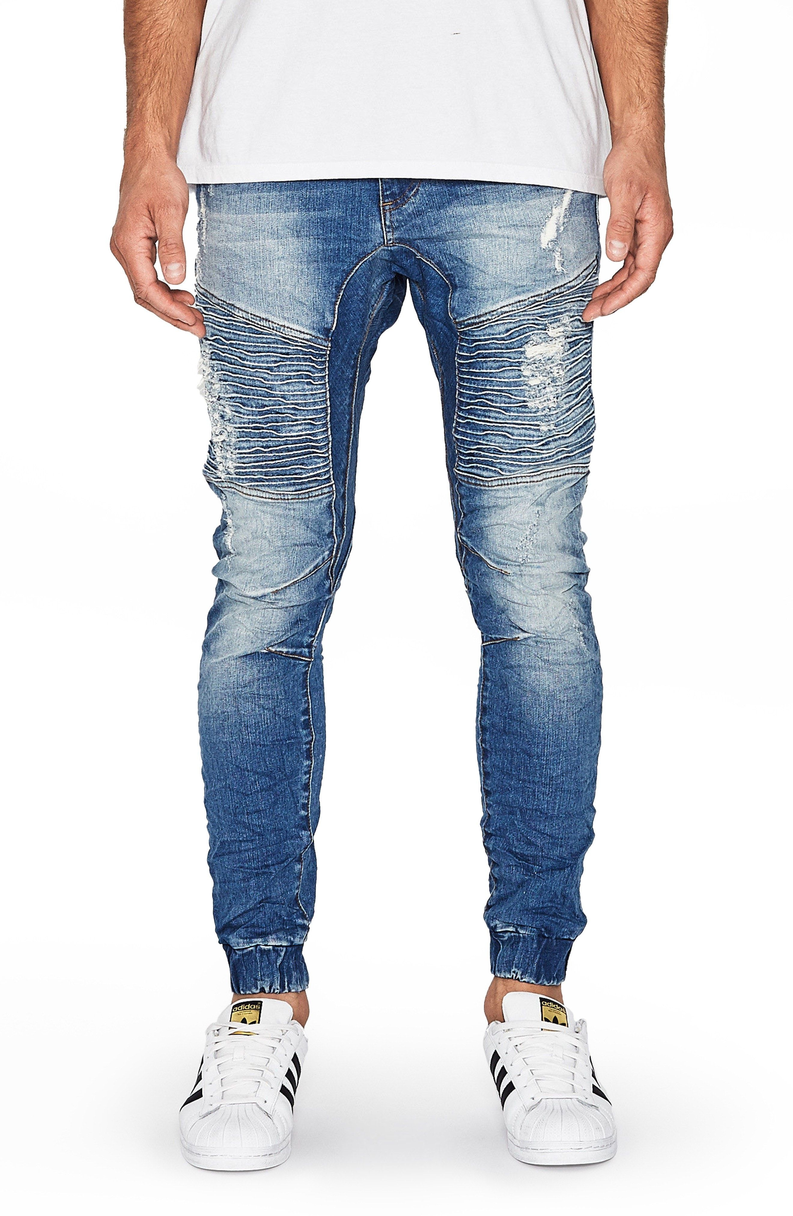 New Nxp Destroyer Moto Denim Jogger Pants Blue Trash