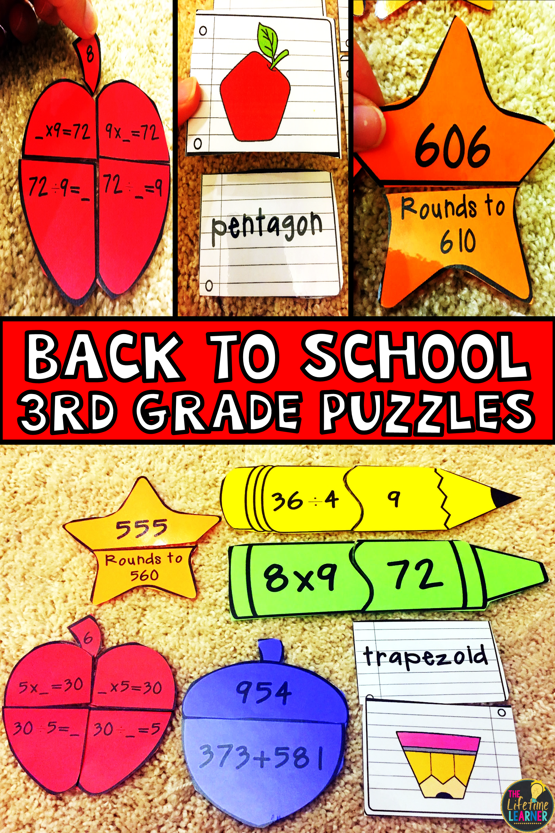 Back To School 3rd Grade Math Puzzles