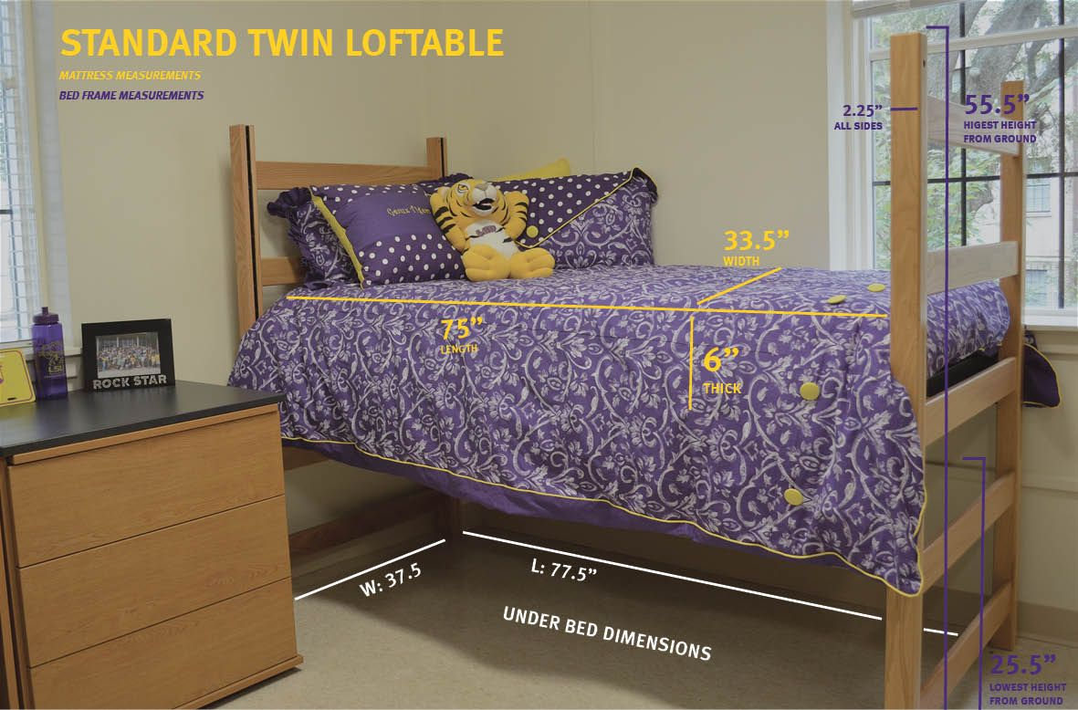 Measurements For A Standard Twin Loftable Bed Bed College Bedding College Dorm Room Hacks