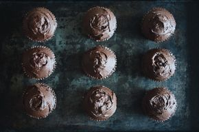 Chocolate Cupcakes with Dark Chocolate Ganache Frosting