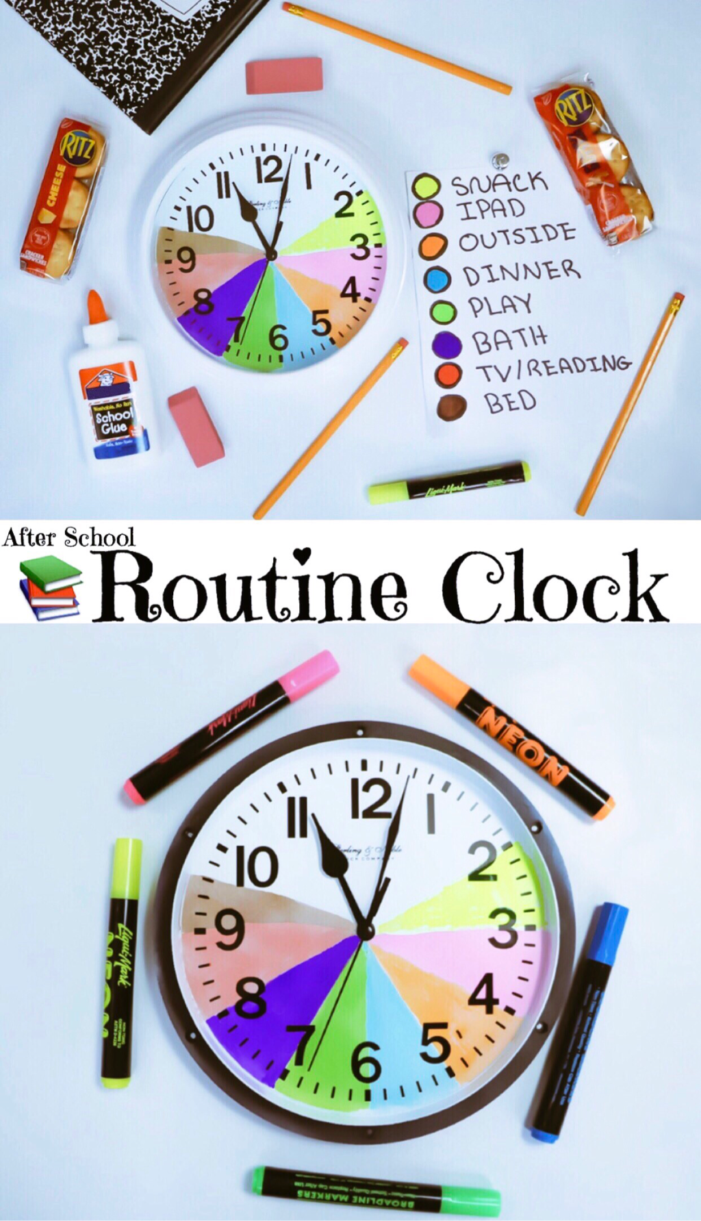 TEACHING TIME MANAGEMENT ~ AFTER SCHOOL ROUTINE CLOCK #RitzFilledNotHangry #CollectiveBias #ad @krogerco