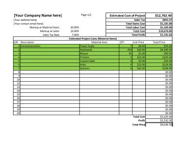 Project estimate spreadsheet for excel estimate template for Log home cost estimator