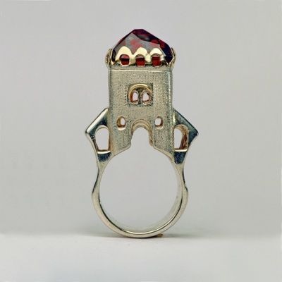 "Ring   Margot diCono (Studio Numen). ""Gate of Barbarossa"".  Sterling silver, 14k gold, Madeira Citrine"
