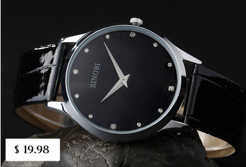 SINOBI Brand Leather Strap Watch for Mens