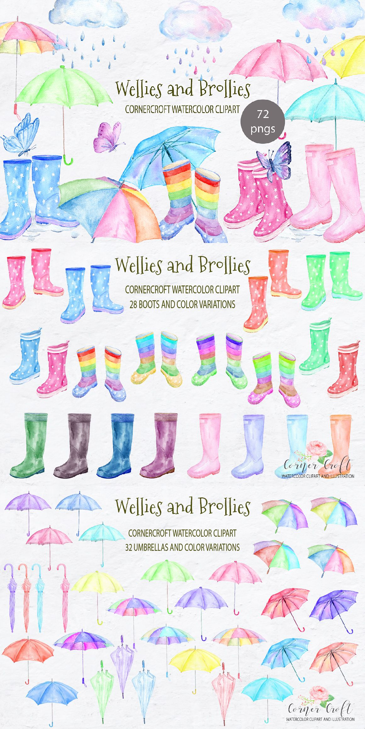 Wellies And Brollies Clipart Watercolor Rain Boots Umbrella