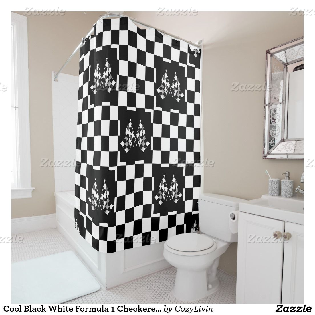Cool Black White Formula Checkered Flags Pattern Shower Curtain - Black and white check bath mat for bathroom decorating ideas