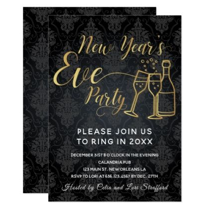 Black On Black Damask New Year S Eve Party Invitation Zazzle Com New Years Eve Party Invitation Card Party Party Card