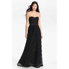 Adrianna Papell Pleat Bodice Rosette Ballgown Dress Gown Black 6