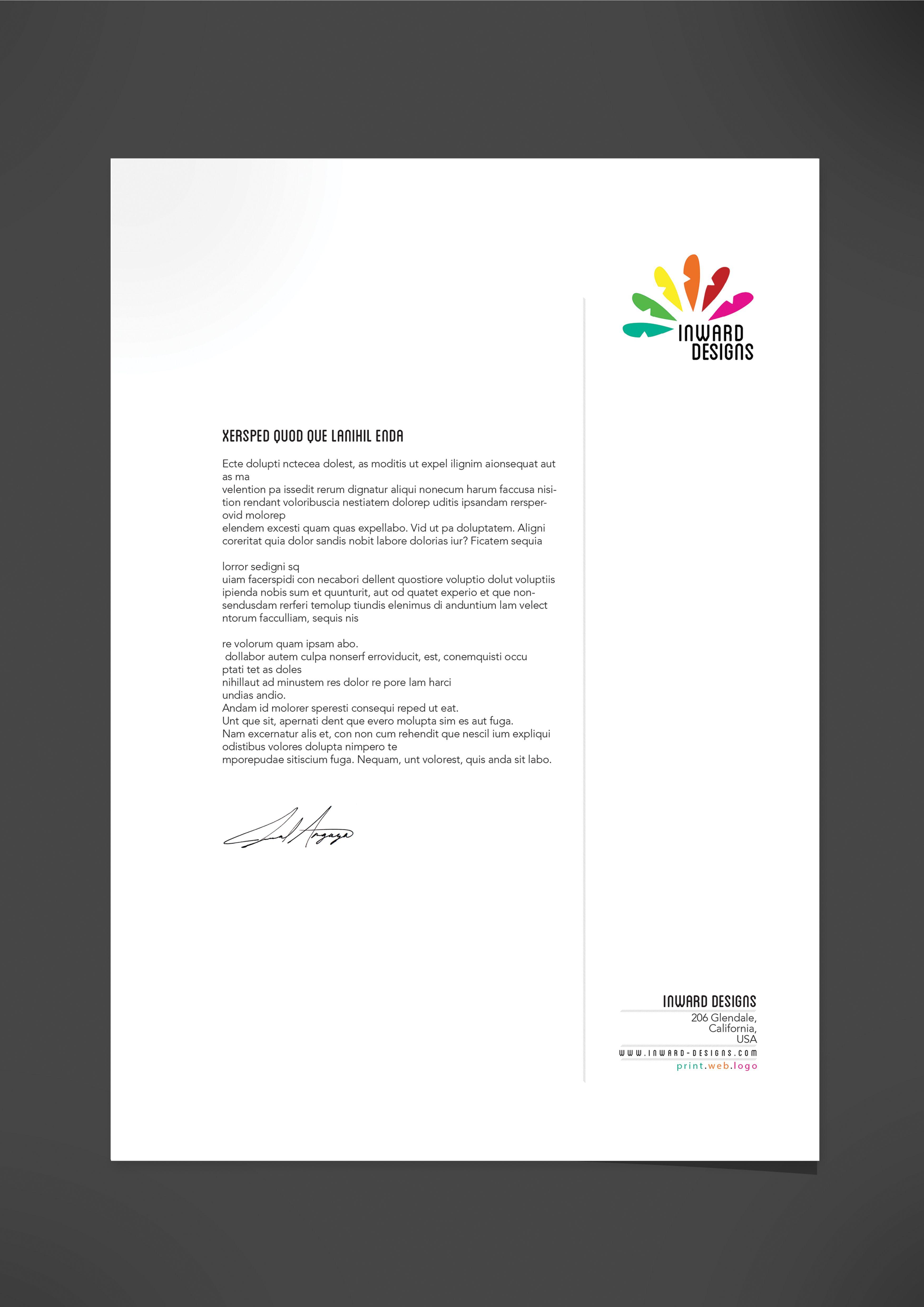 Letterhead design for a self branding brief project