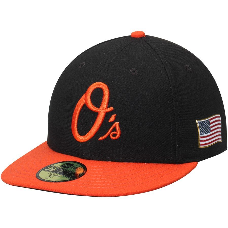 04d6b5f8448 Men s Baltimore Orioles New Era Black Orange Authentic Collection On-Field  US Flag 59FIFTY Fitted Hat