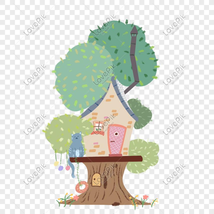 بيت الكرتون شجرة الحيوان Cartoon Trees Tree House Cartoon