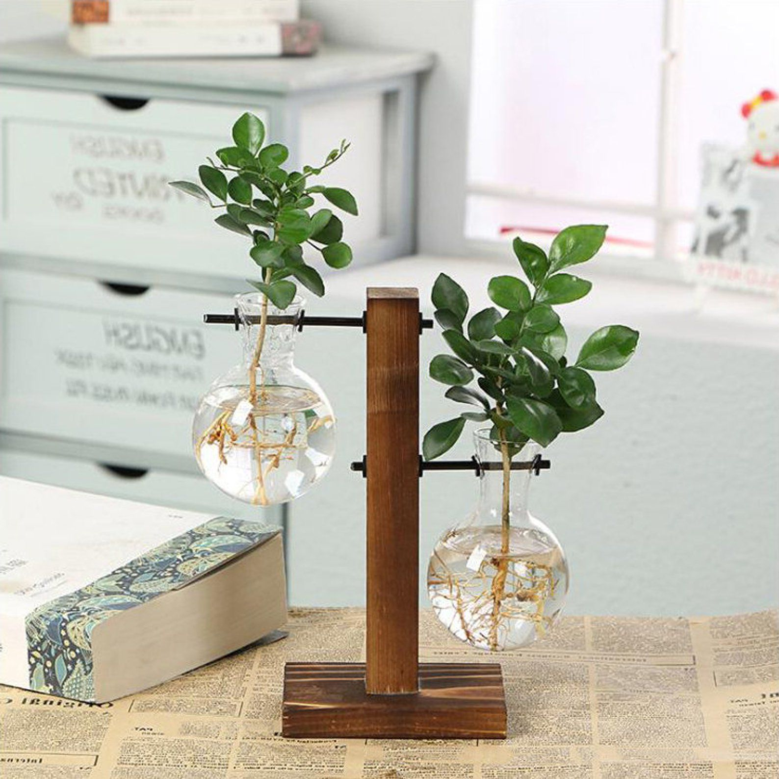 Hydroponic Glass Vase On A Wooden Plant Stand Glass Planter Etsy