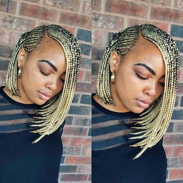 Blonde Braided Bob Idea Braids Bob Style Black Women Hairstyles Hair Styles