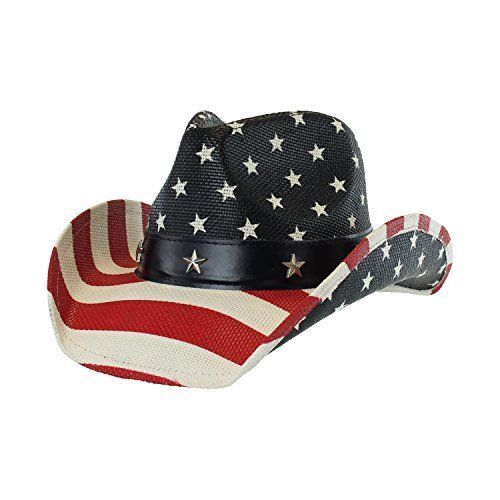 Shapable Brim Vintage Patriotic USA American Flag Stars and Stripes Western Cowboy Hat for Men or Women