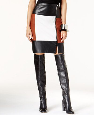 INC International Concepts Faux-Leather Colorblocked Pencil Skirt, Only at…