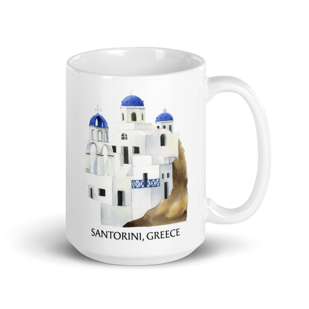 Santorini Green Coffee Mug Santorini Coffee Cup Santorini Landmarks Mugs Personalized Ceramic Coffee Mugs Green Coffee Mugs