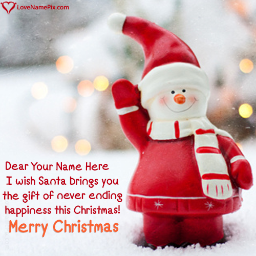 Create Cute Red Santa Happy Christmas Images with name alongwith ...