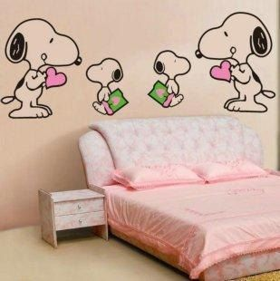 Cute four snoopy nature vinyl wall paper decal by lovebabysticker aw snoopy love - Snoopy wallpaper for walls ...