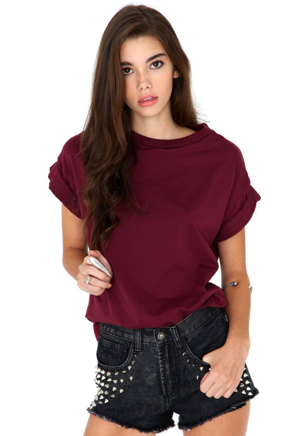 Olive Oversize Tee In Burgundy