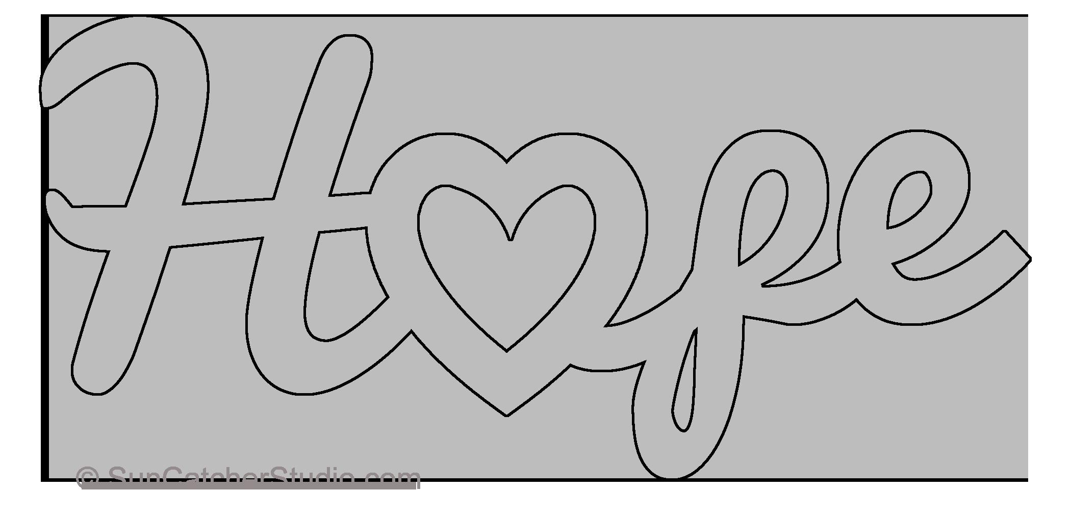 hope heart pattern free template stencil printable word art