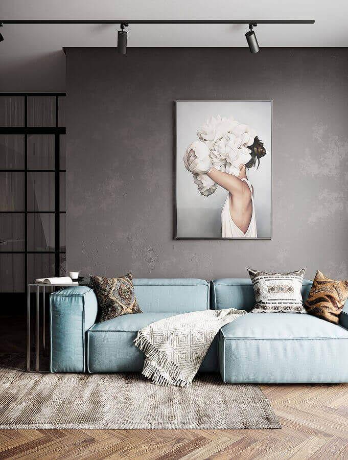 Zeitgenössisches Sofa für zeitgenössisches Wohnzimmer verziert mit gebrannter Zementwand – Architektur und Kunst