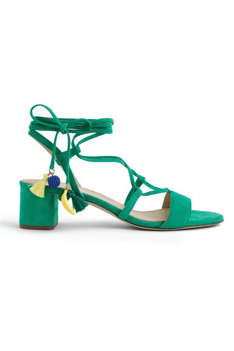 9cb184c7b6c984 Add a pop of color to your outfit with bright green lace-up sandals from J.  Crew.