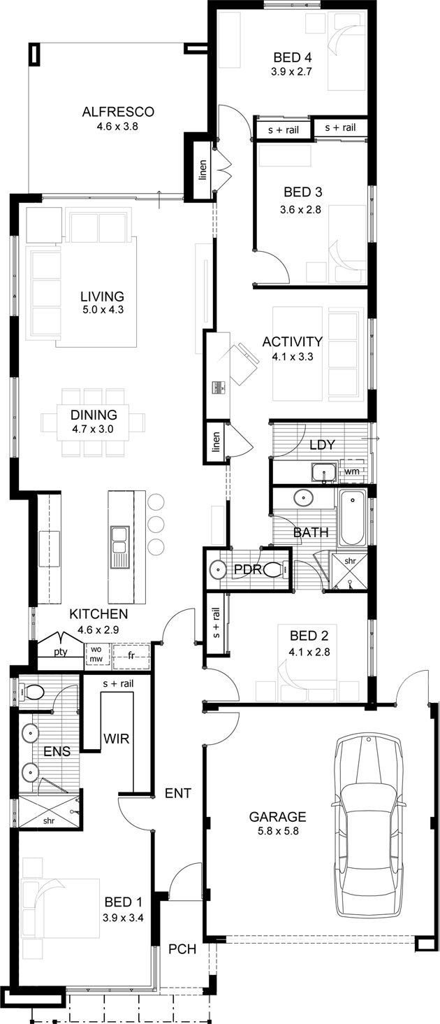 Floor Plans Narrow Lot | Double Storey Narrow Lot Sloped Site Floor Plan Google Search