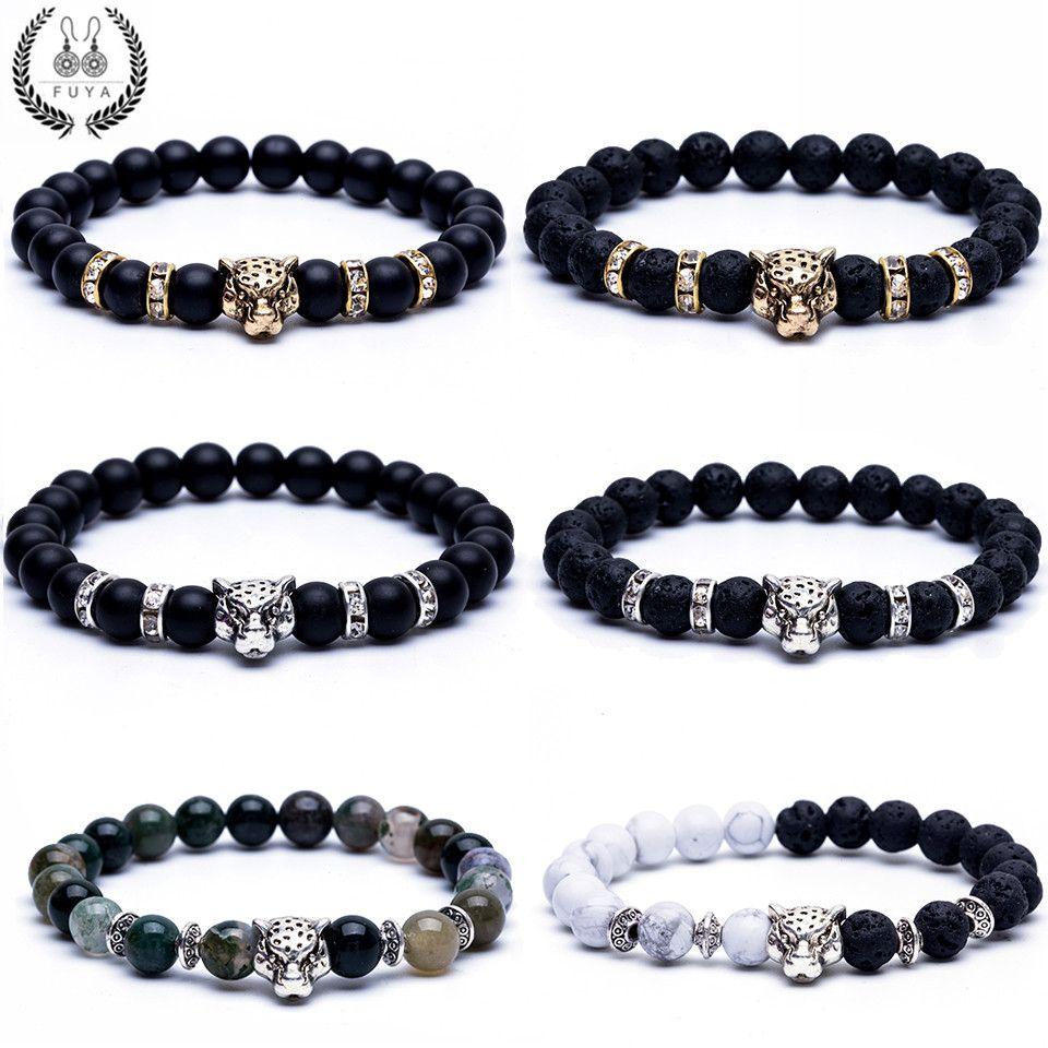 New leopard head bead a bracelet men beaded trendy black lava