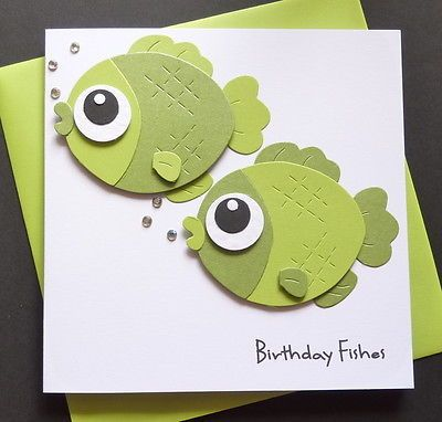 Handmade Personalised Birthday Fishes Fish Fishing Theme Card In Crafts Cardmaking Scrapbooking Hand Made Cards
