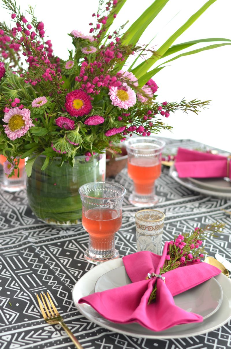 African Mudcloth + Fuchsia Table Setting From The Style Safari Prints