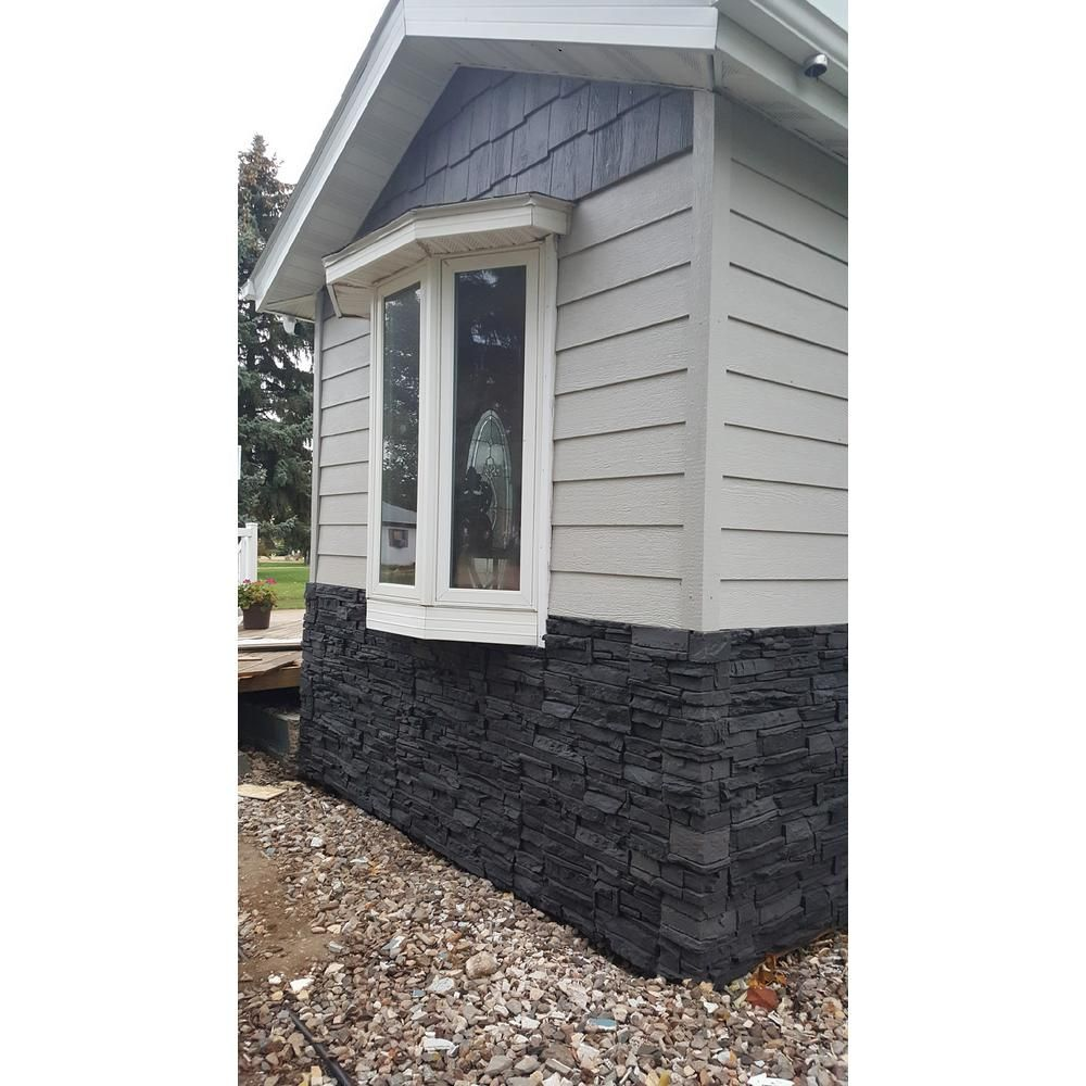 Genstone Stacked Stone Iron Ore 12 In X 42 In Faux Stone Siding Panel G2ssiohp The Home Depot In 2020 Stone Exterior Houses Faux Stone Siding Faux Stone Veneer