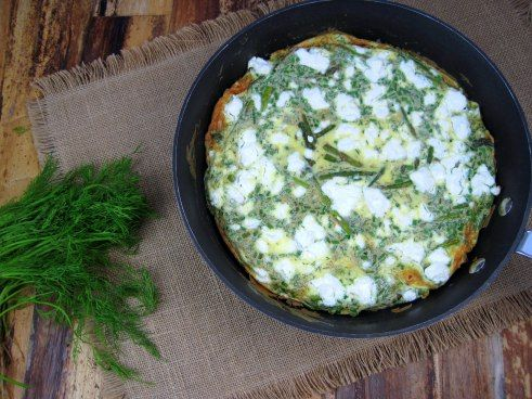 Asparagus, Goat Cheese, and Herb Frittata - Just the Tip