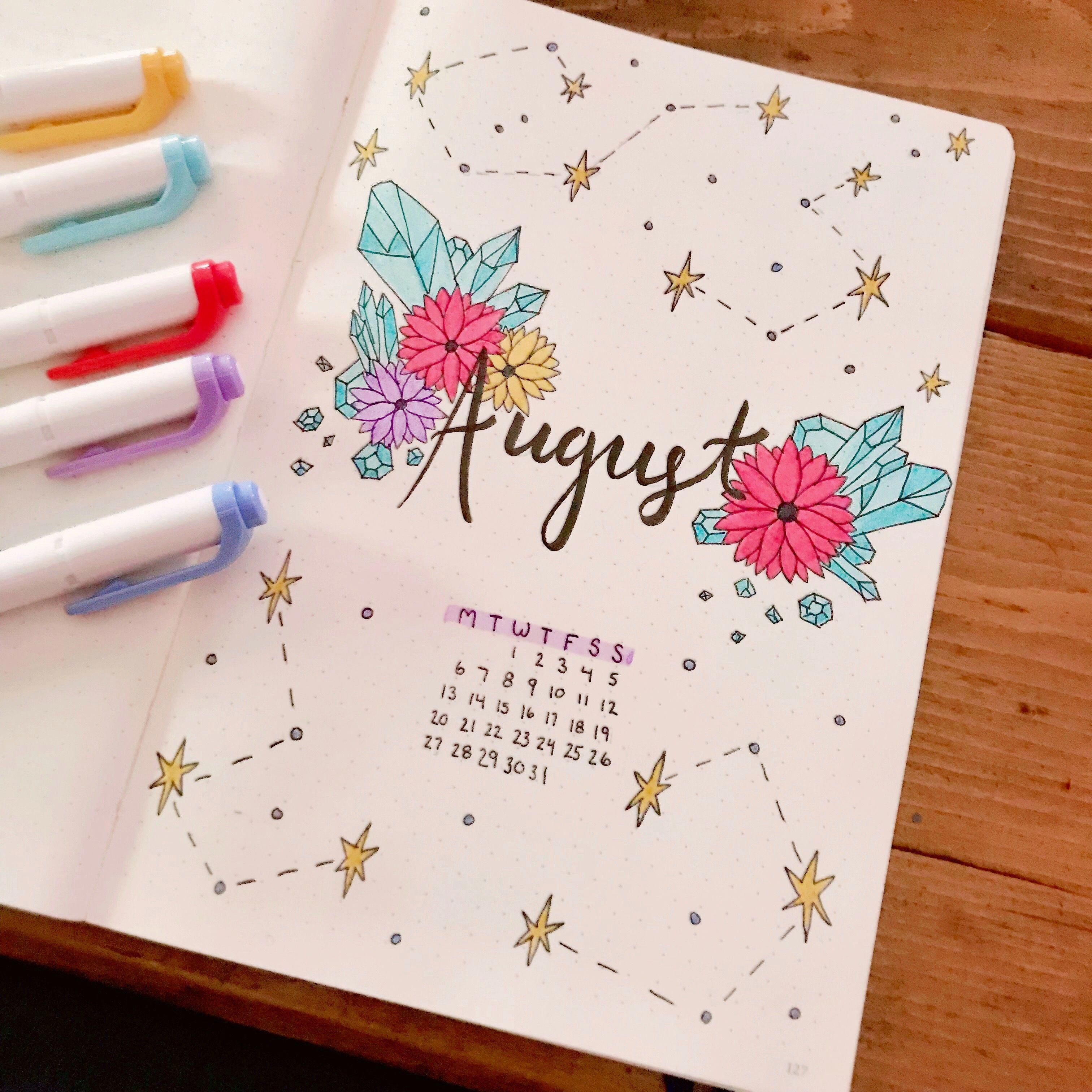 Crystals and Flowers Bullet Journal Spread #bulletjournalmonthly #augustbulletjournal