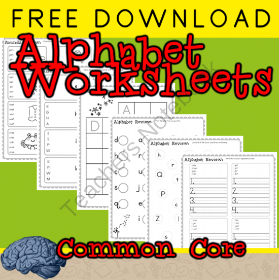Free First Grade Alphabet Review Worksheets from Selma