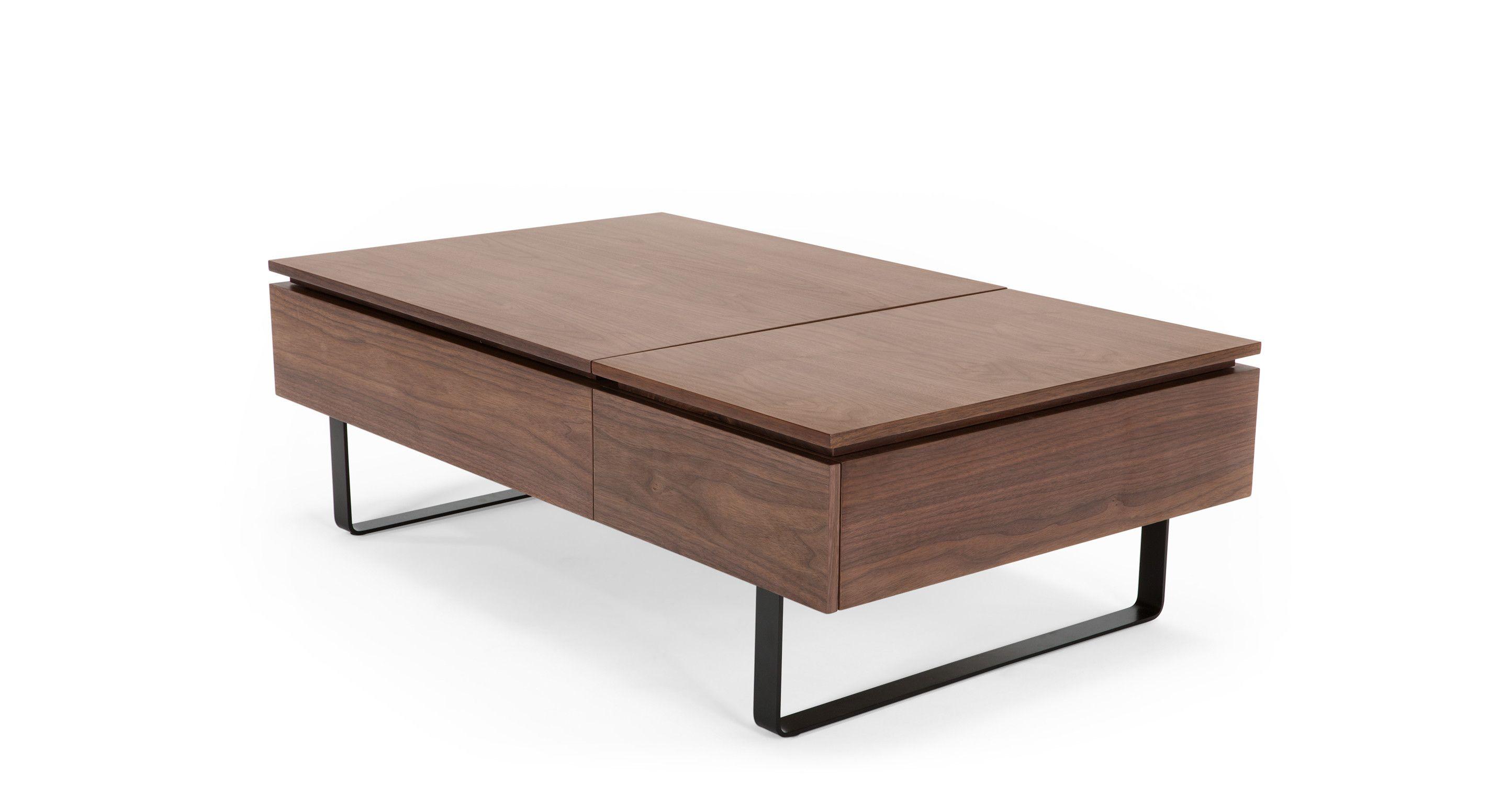 Flippa Functional Coffee Table with Storage Walnut from Madecom