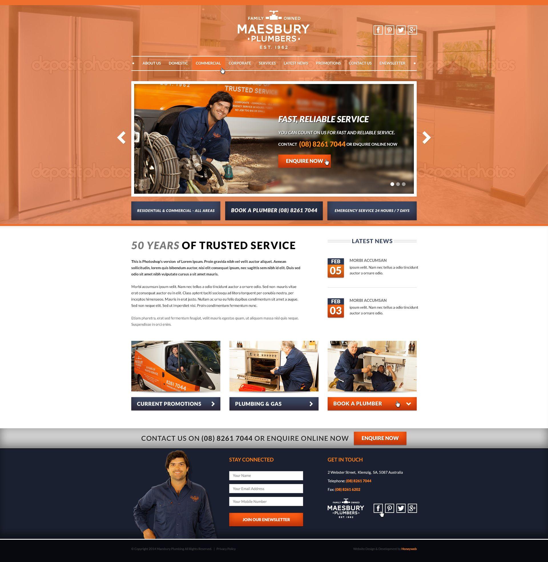 Maesbury Plumbers Website Designed By Honeyweb Www Maesbury Com Au Www Honeyweb Com Au Website Design Plumber Design