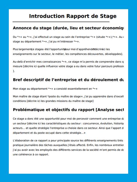 15 Exemple De Bilan De Stage Identite Comtoise Word Doc Rapport De Stage Introduction