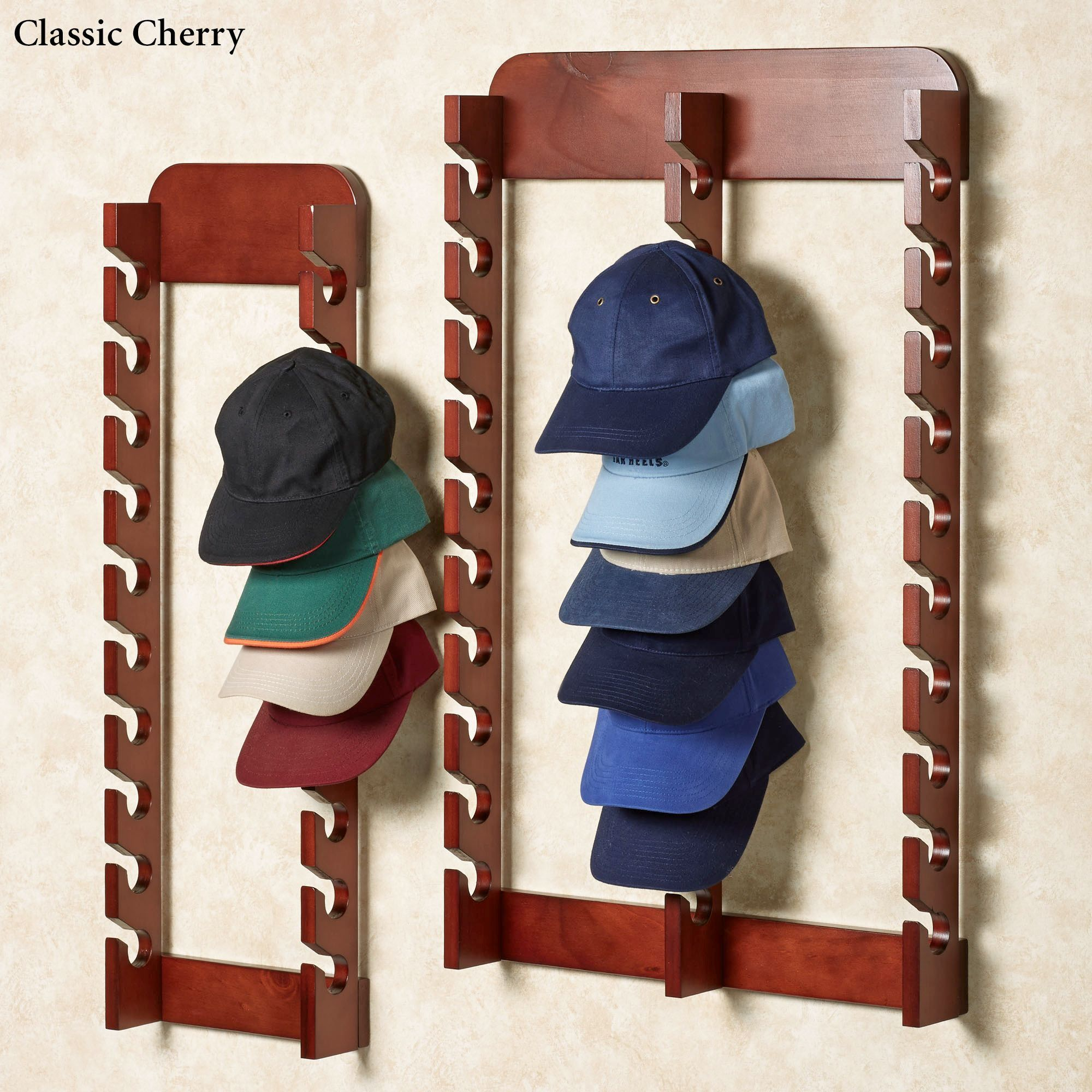 wood cap display wall rack holds up