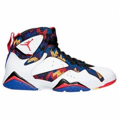 Jordan Men -  Air Jordan Retro 7 Basketball Shoes in White/University Red/Bright Concord