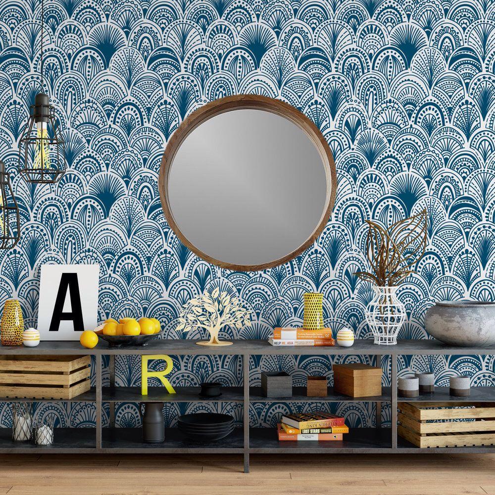 Blue Bohemian Scallops Removable Wallpaper G19327 in 2020