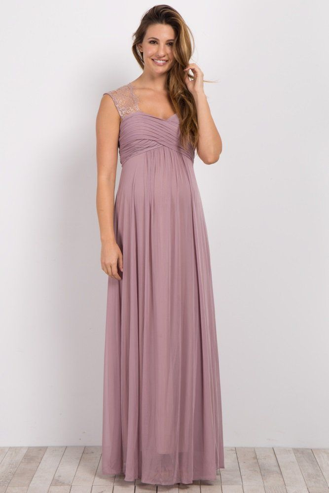 85790d3de627e Light Pink Lace Accent Chiffon Maternity Evening Gown | Stylish Bump ...