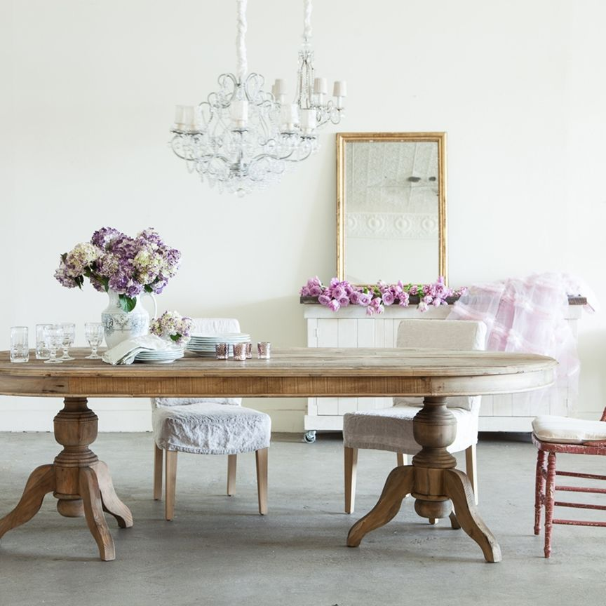 Pavilion oval pedestal dining table by shabby chic for Table de noel shabby chic