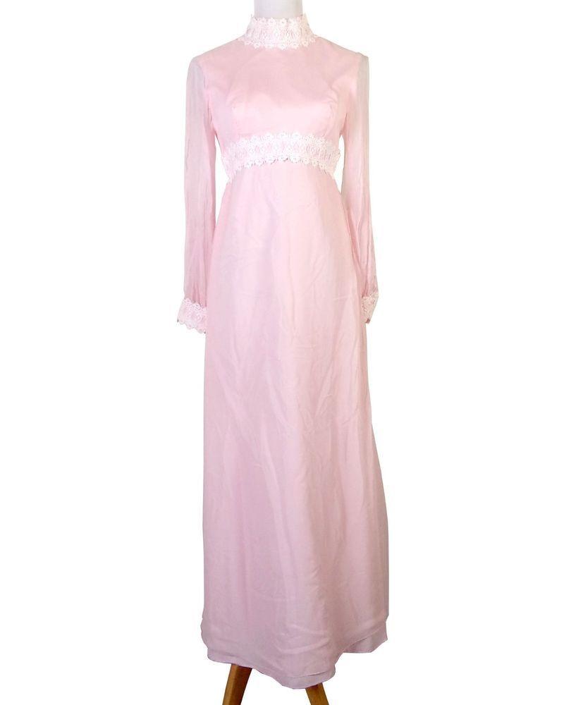 vtg 60s hippy boho Pink and White Lace Formal Prom Dress Chiffon ...