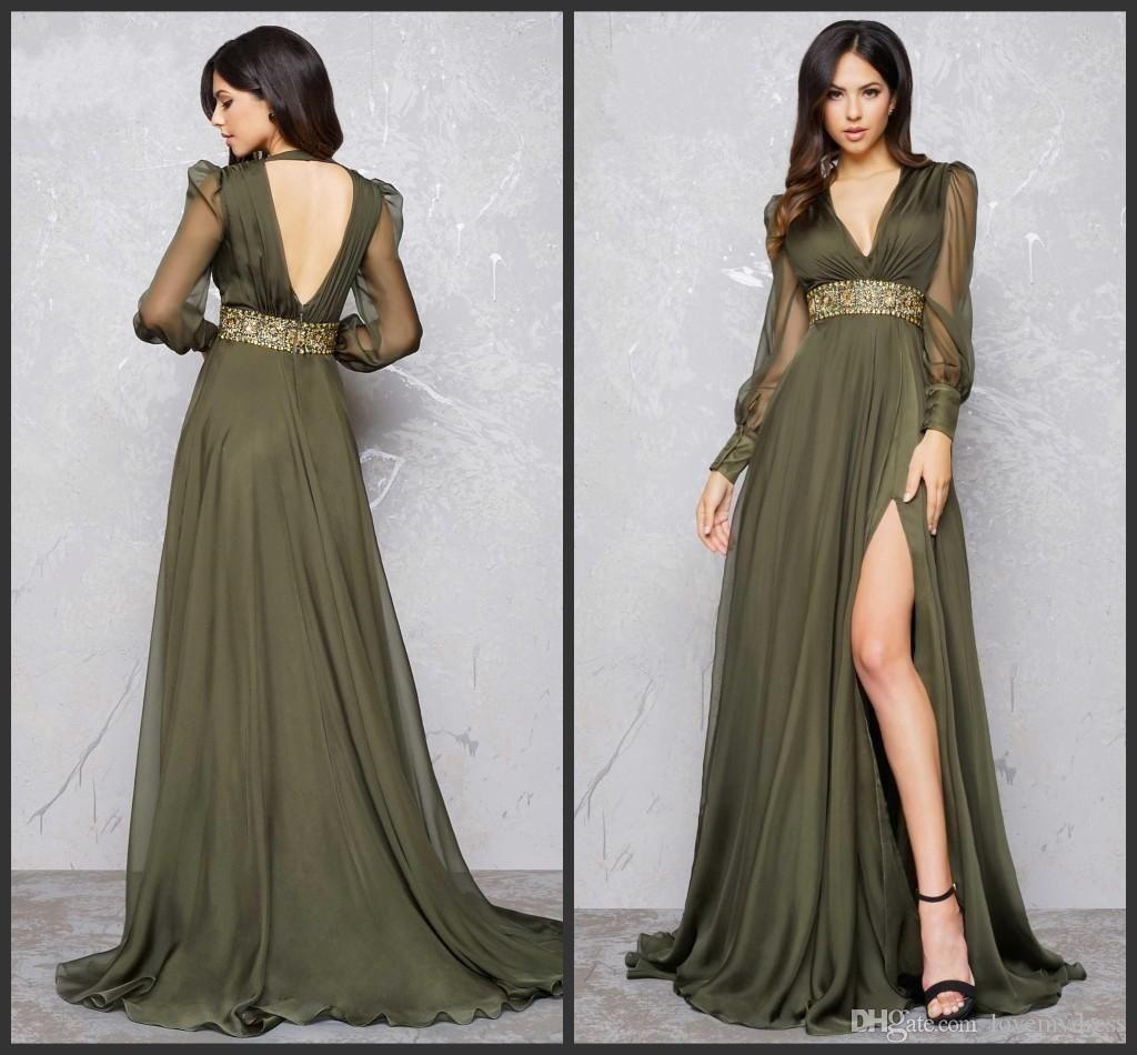 Iullsion Sexy Formal Dress Cheap V Neck Backless Split Evening ...