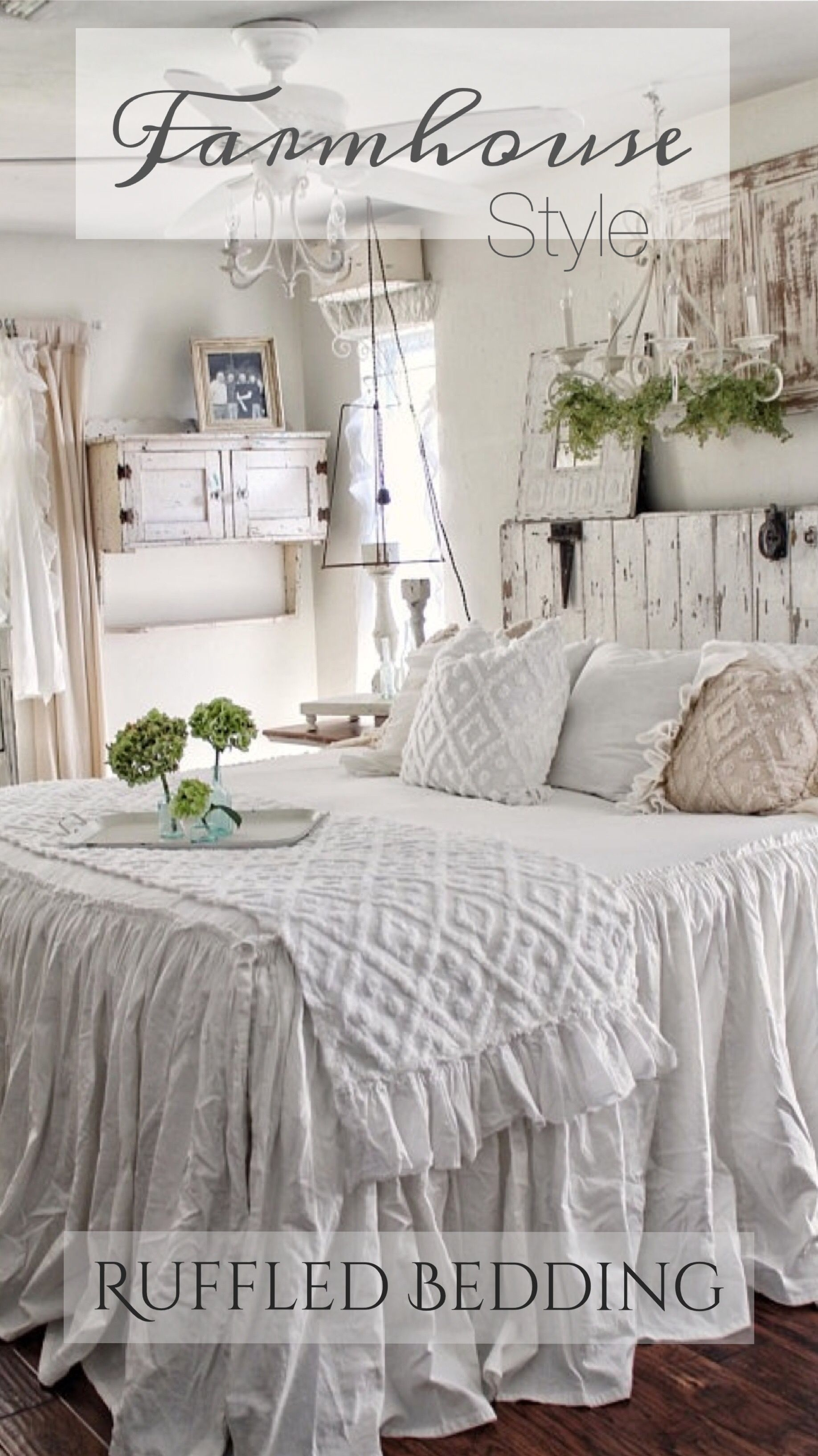 Farmhouse Style Ruffled Bedding Ad This Is Just Simply Gorgeous A Touch Of Rustic And Chic Farmhouse Bedding Shabby Chic Bedding Chic Bedding Chic Bedroom